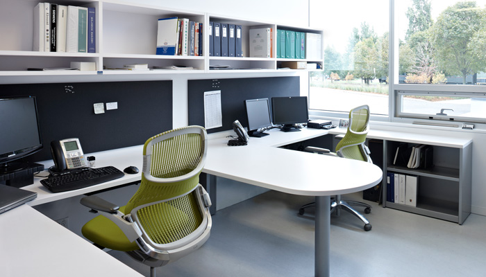 Shared faculty office with Dividends Horizon®, Template® Storage and Generation by Knoll® Task Chairs