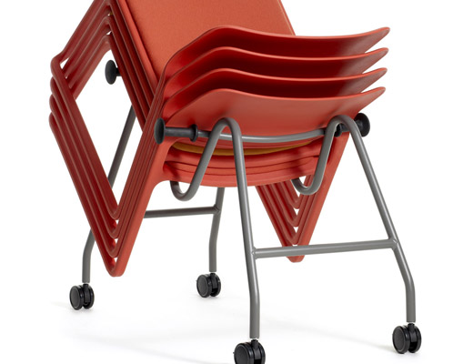 Spark Series red Lounge stacking chairs on mobile dolly