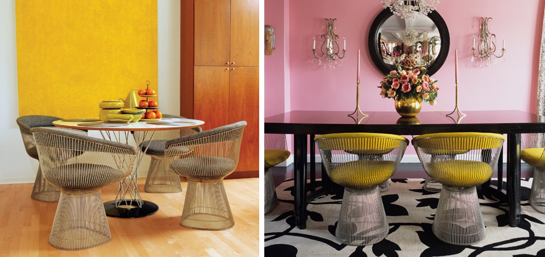 Color Platner Chairs and Noguchi Cyclone Table