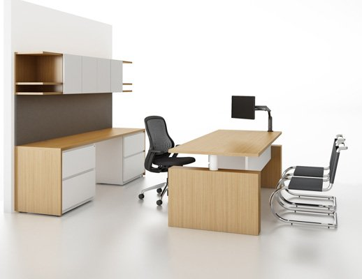 Reff Profiles overhead with open ends and height adjustable desk