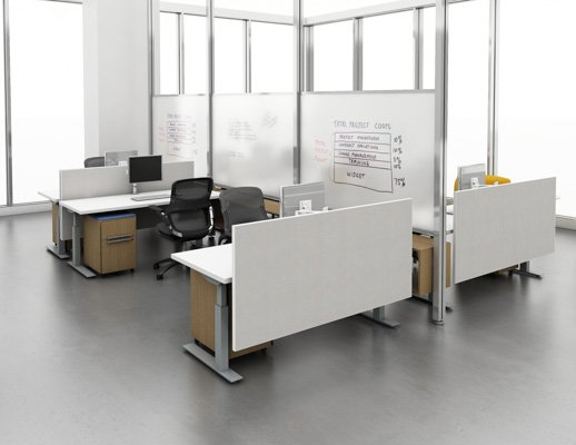 height adjustable workstations with Interpole white board privacy dividers