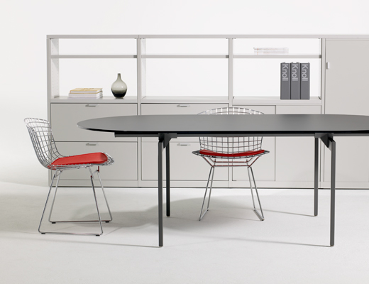 Antenna Workspaces racetrack table and Bertoia side chairs