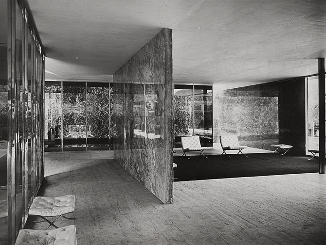 The Barcelona Pavilion by Mies van der Rohe. Courtesy of MoMA