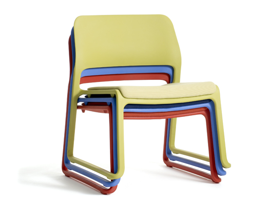 Spark Series Lounge Stacking chairs in green, red and blue