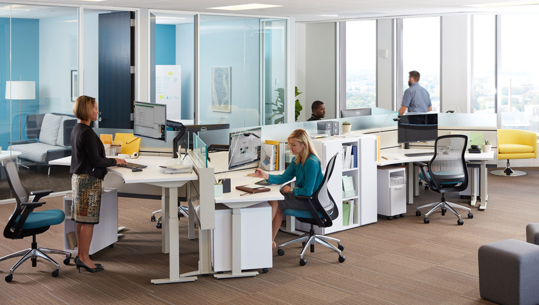 Knoll Open Plan Workstation Furniture with Tone Height Adjustable Tables