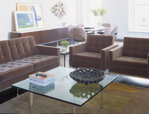 Florence Knoll Sofa Collection and Barcelona Coffee Table with Glass Top