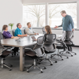 Knoll wood Reff Profiles conference table with ergonomic Generation by Knoll chairs