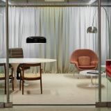 NeoCon 2015 private office perimeter planning Saarinen Womb Chair Saarinen Pedestal Table Florence Knoll Settee Florence Knoll Coffee Table square Saarinen Table oval Sapper Executive Chair Florence Knoll Credenza Krusin Side Chair Dakar drapery The Adjay