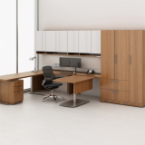 Reff Profiles private office with double hight overhead with exposed cubby sliding table and height adjustable table