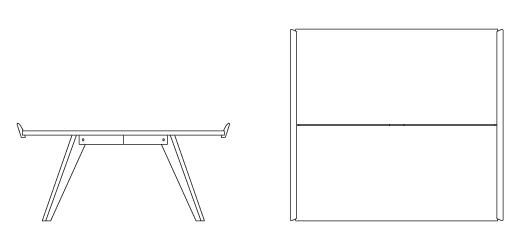 W, D, H. N10 Splay Leg Table ...