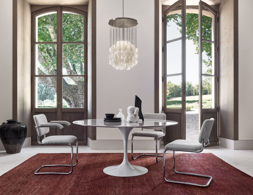 saarinen dining table cesca chair marcel breuer