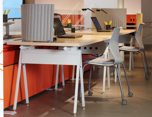 NeoCon 2015 Horsepower Pop Up Antenna Workspaces MultiGeneration by Knoll Sparrow Smokador KnollExtra benching sawhorse fence