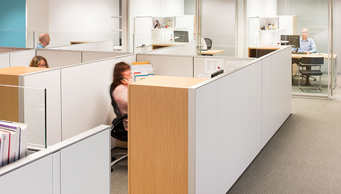 Reff Profiles™ open plan administrative area and private offices with Generation by Knoll® Chairs