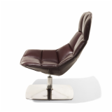 Jehs+Laub brown leather Lounge Chair with polished aluminum pedestal base