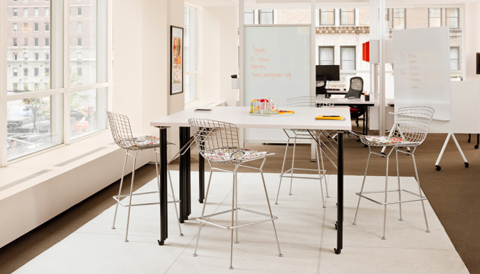 Propeller® Table with Bertoia Barstool and Scribe™ Mobile Markerboard