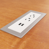 Drop-In Electrical Outlet, 210, White Body/Silver Bezel