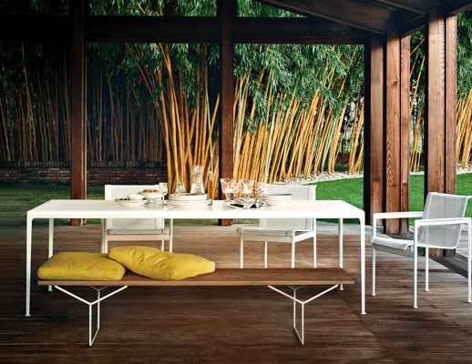Knoll outdoor 1966 Dining Table and Chairs with Bertoia Bench