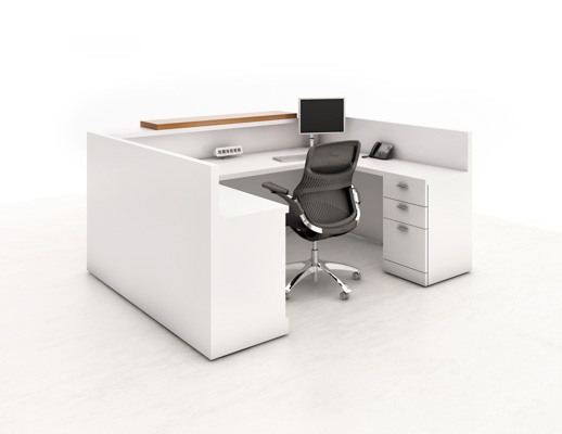 Reff Profiles Reception station with transaction top and box box file pedestal interior view