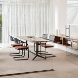 Knoll Essentials Anchor storage wall mounted Dividends Horizon Y-base table Moment chair Krefeld lounge Krusin lounge chair Saarinen Knoll Extra Marc Krusin Meeting Space Multi Use private office