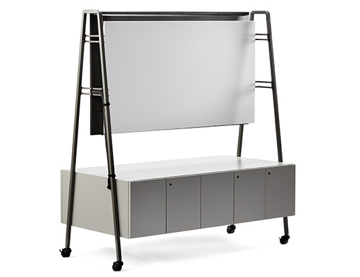 Rockwell Unscripted media cart tv support monitor support storage AV equipment mobile casters markerboard accessory
