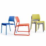 Spark Series Lounge and Stacking chairs by Don Chadwick in orange, red and green