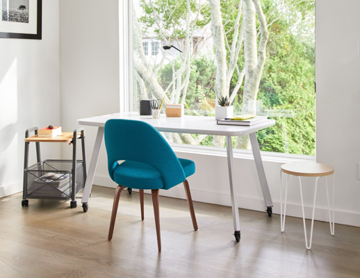 Rockwell Unscripted Easy Table with Mobile Storage Cart Saarinen Executive Side Chair Sparrow Desktop light home office florence knoll hairpin table