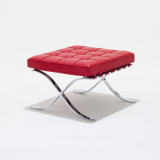 Barcelona Collection Stool by Mies van der Rohe in red Spinneybeck leather