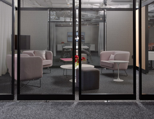neocon showroom 2017 rockwell unscripted immersive planning club chairs creative wall with aperature and enclosure saarinen coffee table adaptive planning