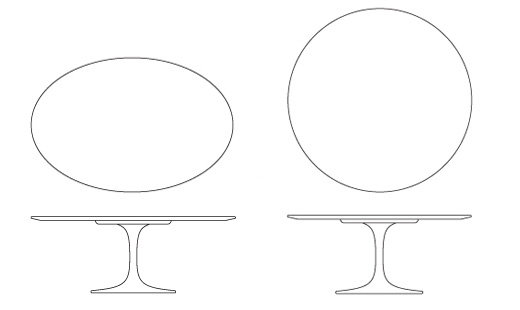 Saarinen Coffee Table Knoll - Saarinen table sizes