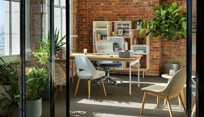 Antenna Workspaces® Desk with Generation by Knoll® Task Chair, Saarinen Executive Chair and Muuto Storage