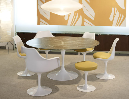 Saarinen Tulip Table and yellow Tulip chairs and stools