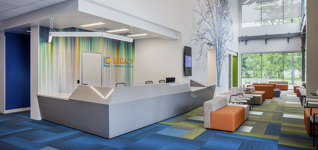 Knoll project profile and case study of legacy community health which incorporates k. lounge and multigeneration chairs