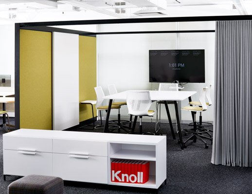 rockwell unscripted sawhorse table multigeneration by knoll stool rockwell unscripted creative wall raised anchor storage efficient planning neocon showroom 2017