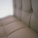 Barcelona Lounge Chair brown leather seat detail