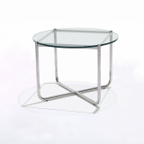 MR glass Side Table with stainless steel legs