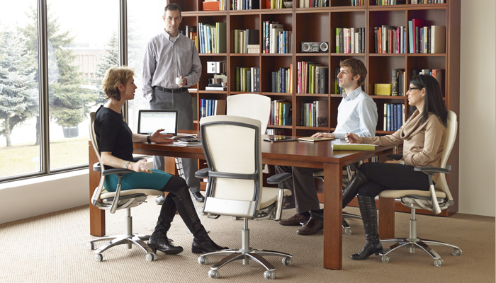 Group meeting area with Reff Profiles® Table and Life® Task Chairs