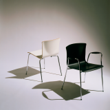 Cirene Stacking Chair and Armless Side Chair in white and black