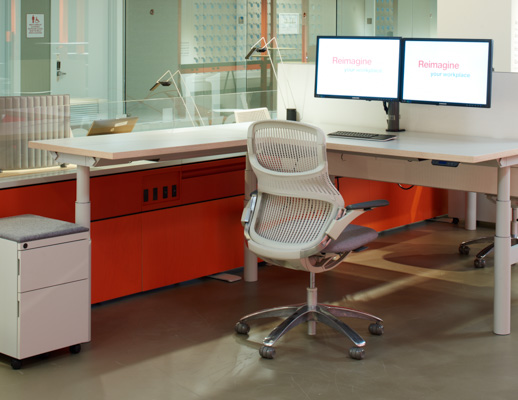 Telescope height adjustable table Antenna Workspaces Fence Generation by Knoll Pop Up Sapper Dual Monitor Arm NeoCon 2015 showroom ergonomic privacy screen