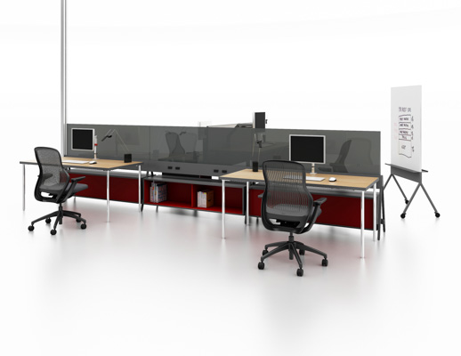 spine based flexible glass panel privacy workstation