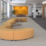 Activity Spaces community lobby reception waiting area corridor k lounge toboggan bench pull up table saarinen table reff profiles admin reception filzfelt acoustic wall