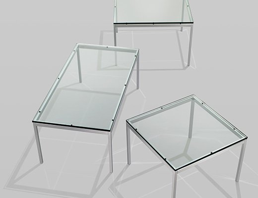 Florence Knoll Low Tables with Glass Top