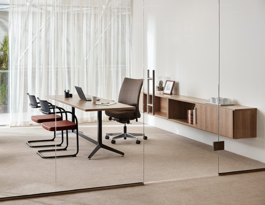 Knoll Essentials Anchor storage wall mounted Dividends Horizon Y-base table Remix High Back Remix chair Moment chair Krefeld lounge Krusin lounge chair Saarinen Knoll Extra Marc Krusin Multi Use private office refined focus