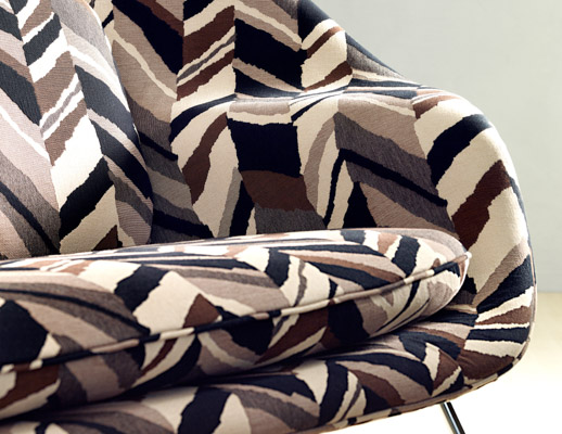 knoll textiles the shape of things collection color collage upholstery womb settee