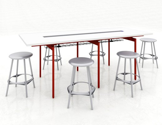 Knoll Standing Height Community Space with Barstools