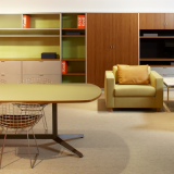 Template Storage System shown with Dividends Horizon Table, Bertoia side chairs and D