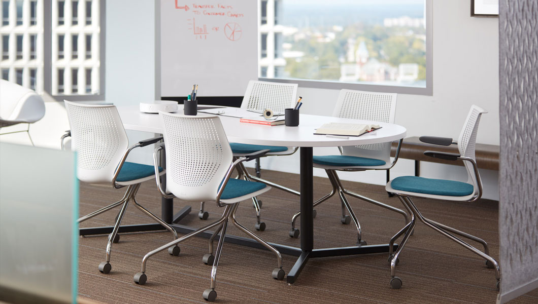 Knoll Shared Spaces Team Meeting with Antenna Table and MultiGeneration Chairs