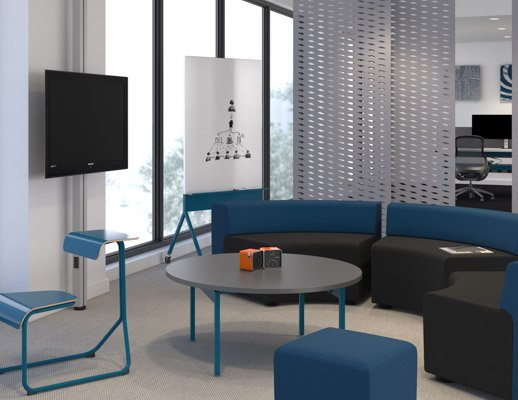 Activity Spaces open enclave team meeting lounge media screen sharing space division k lounge bench stool Toboggan chair desk Interpole display Antenna Workspaces low table Scribe Mobile Markerboard FilzFelt hanging panel