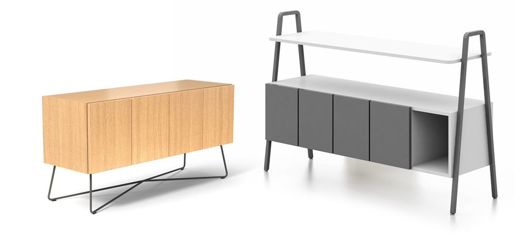 Rockwell Unscripted Credenza and Console storage elements for the open pland immersive workplace