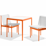 1966 Collection Dining Armless Chair Square Dining Table orange Richard Schultz patio outdoor furniture