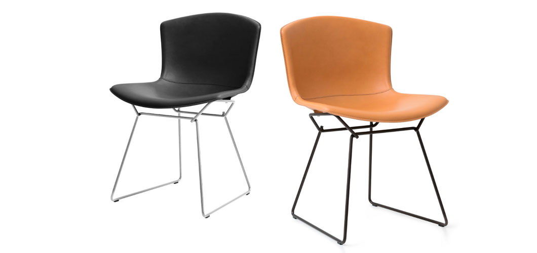 Harry Bertoia Leather-covered Side Chair by Knoll